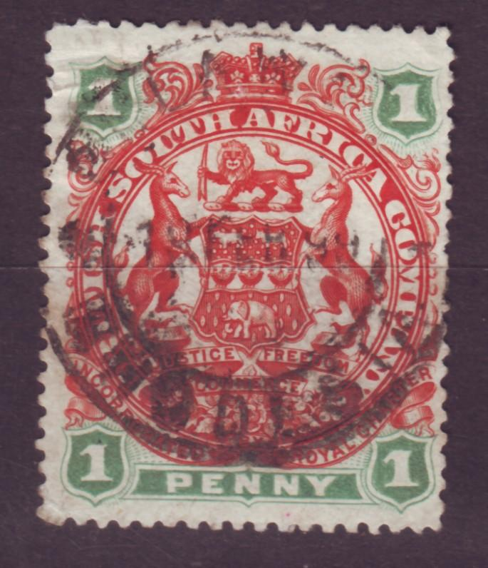 J17059 JLstamps 1897 rhodesia used #51 coat of arms