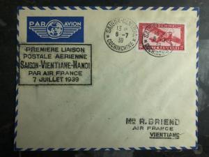 1939 Saigon Laos Hanoi Vietnam First Flight Cover via Air France 200 Flown FFC