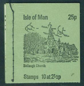 Isle of Man 25p sewn Booklet Scott 5(16a) panes 1973