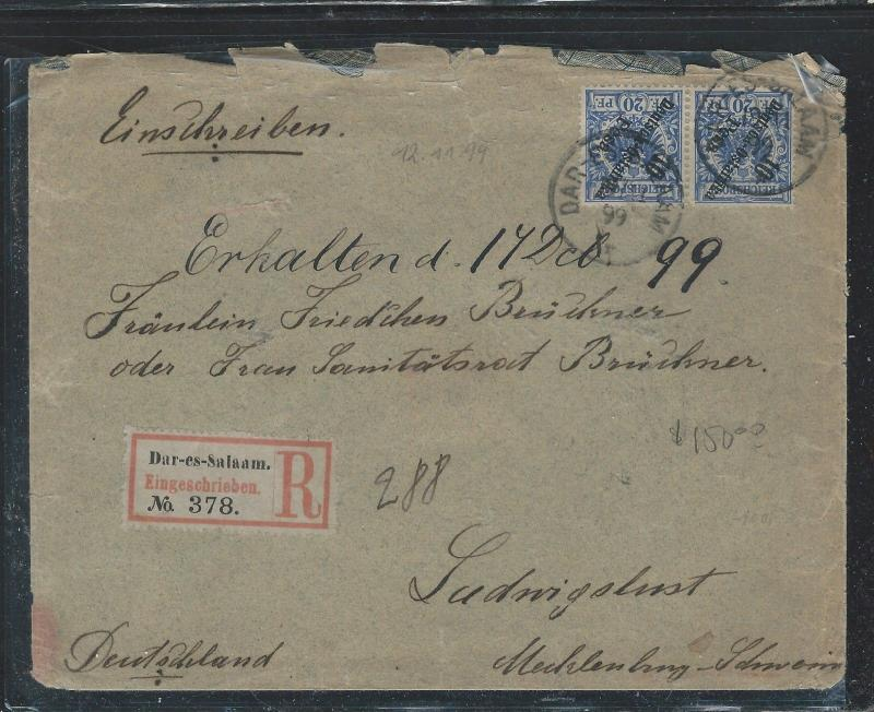 GERMAN EAST AFRICA (3009B) 1899 DIAGONAL DOA 10P OVPT ON PR REG TO GERMANY