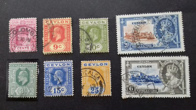 Ceylon Edward VII & George V Used