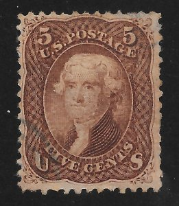 95 Used,  5c. Jefferson, F Grill, Very Thin Paper Var.  FREE INSURED SHIPPING