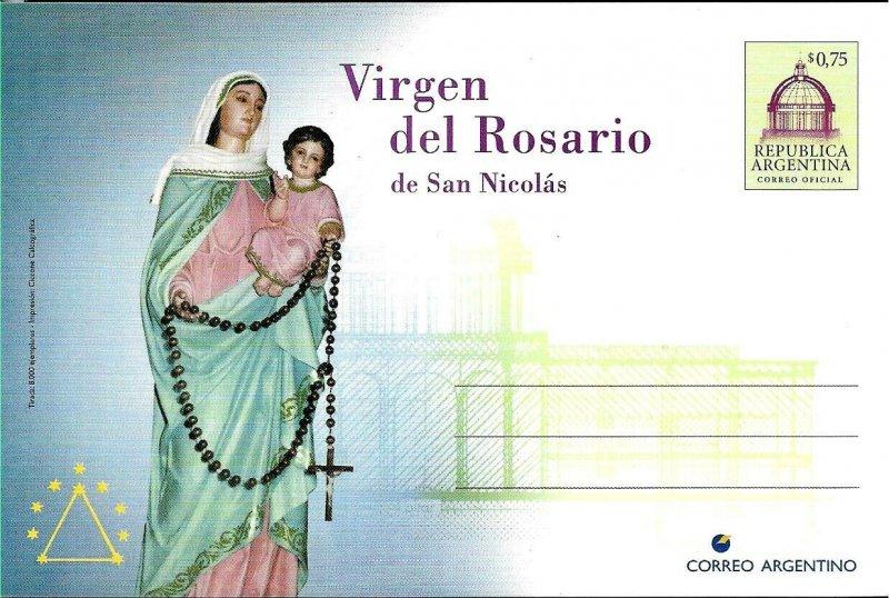 PS-121 ARGENTINA 1998 P STATIONARY RELIGION MADONNA ROSARIO SAN NICOLAS UNUSED