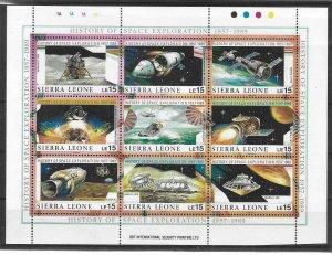 1989    SIERRA LEONE  -  SG.  1293 / 1301  -  SPACE EXPLORATION SHEETLET  -  MNH