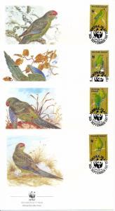 [53591] Norfolk Island 1987 Birds Vögel Oiseaux WWF FDC Parakeets 4 covers
