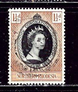 Northern Rhodesia 60 Used 1953 QEII Coronation