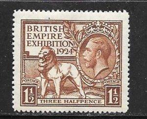 1924GB #185  1 1/2p  British Empire Exhibition  1924 (MLH)) CV $5.00