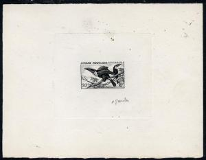 French Guiana 1947 Toco Toucans die proof of 20f in black...