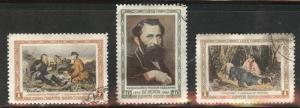 Russia Scott 1805-1807 used CTO 1956 ART stamp set