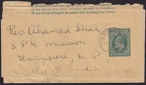 TRINIDAD 1914 EVII ½d newspaper wrapper used SNA FERNANDO to India..........6112