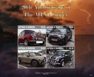 Antigua & Barbuda Cars Stamps 2021 MNH MINI Cooper 20th Anniv 4v M/S