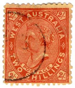 (I.B) Australia Postal : Western Australia 2/- (SG 124b) inverted watermark