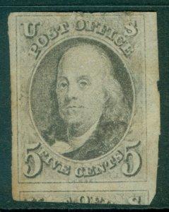 EDW1949SELL : USA 1847 Scott #1 Tiny nick in top margin. Appears Unused.