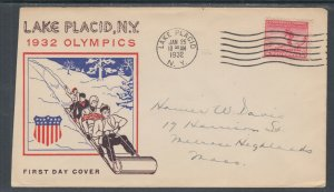US Planty 716-21 FDC. 1932 2c Lake Placid, New York Winter Olympics