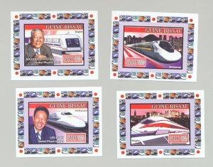 Guinea Bissau 2007 Japan Trains, Nobel Proze 4v Deluxe S/S