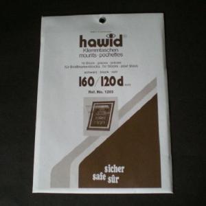 Hawid Stamp Mounts Size 160 / 120d BLACK Background Pack of 10