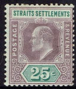 STRAITS SETTLEMENTS 1902 KEVII 25C WMK CROWN CA