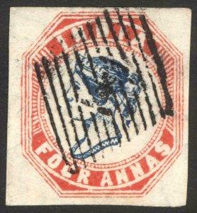 India 1854 4a Dp Blue & Red Head III Frame II SG 22 Scott 6 VFU Cat £550($687)