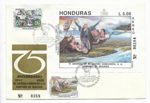 HONDURAS 1992  V CENT DISCOVERY OF AMERICA FDC SOUV SHEET + 1 VAL SAVING BANK
