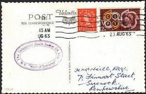 GB SCOTLAND 1962 postcard MAID OF CUMBRAE Clyde Steamer cachet.............13929