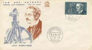 SARRE / SAARGEBIET - 1958 Mi.432 12fr Rudolf Diesel FDC - (P.J Marque Déposée)