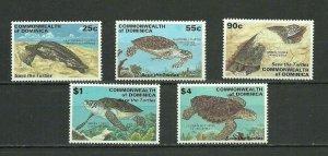 Dominica 1998 turtles animals marine set overprint! MNH