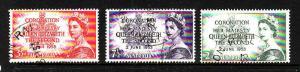 Australia-SC#259-61-used set-1953-QEII-Coronation-Royalty
