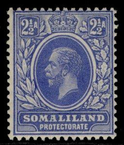 SOMALILAND PROTECTORATE GV SG76, 2½a bright blue, M MINT.