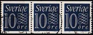 Sweden. 1951 10ore(Coil Strip of 3) S.G.386 Fine Used