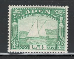 Aden 1937 Dhow 1/2a Scott # 1 MNH