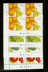 BARBADOS Sc#945-948 Complete Mint Never Hinged PLATE BLOCK Set