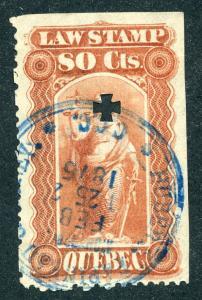 van Dam QL22 - 80c red - Used -Quebec Law Stamp 1871-1890