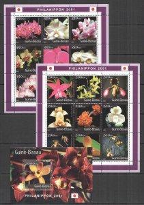 NS0456 2001 GUINEA-BISSAU FLORA FLOWERS ORCHIDS 2KB+1BL MNH