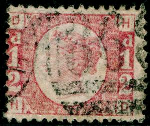 SG49, ½d rose PLATE 20, USED. Cat £75. HD