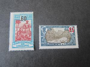 French Polynesia 1923 Sc 60,62 MH