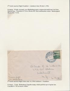 HINDENBURG FOURTH NO. AMERICAN FLIGHT COVER JUNE 30-JULY 2,1936 BT8548