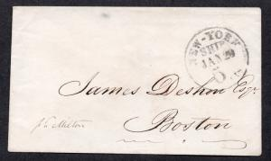 **New York SHIP Cover 1/29 5 cts. CDS to Boston, MA, No Contents