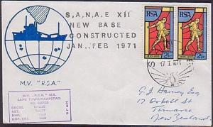 ANTARCTIC SOUTH AFRICA 1971 SANAE New Base Constructed cover (35545))