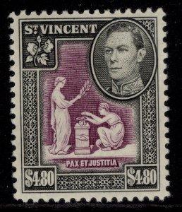 ST. VINCENT GVI SG177, $4.80 purple & black, M MINT. Cat £15.
