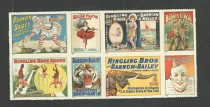 4898-4905 Circus Posters Top Block Of 8 Mint/nh FREE SHIPPING