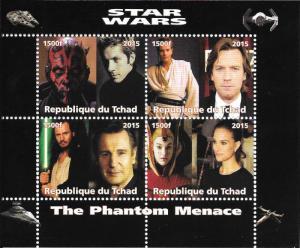 Chad 2015 Star Wars The Phantom Menace 4 Stamp Sheet  3B-381