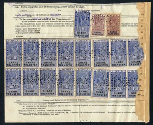 India KGVI 19 x Share Transfer Revenue Stamps on piece total 138 R