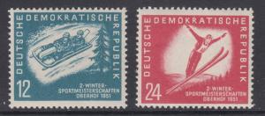 German Dem Rep Sc 76-77 MNH. 1951 Winter Sports cplt