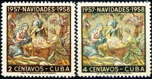 Cuba #588-589 Christmas 1957 MNH