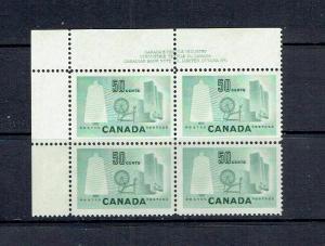 CANADA - 1953 - FIFTY CENT TEXTILE INDUSTRY - ULPB - PLATE 1 - SCOTT 334 - MNH