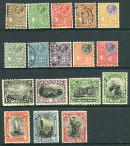 MALTA-1926-7  A fine used set to 10/- Sg 157-172