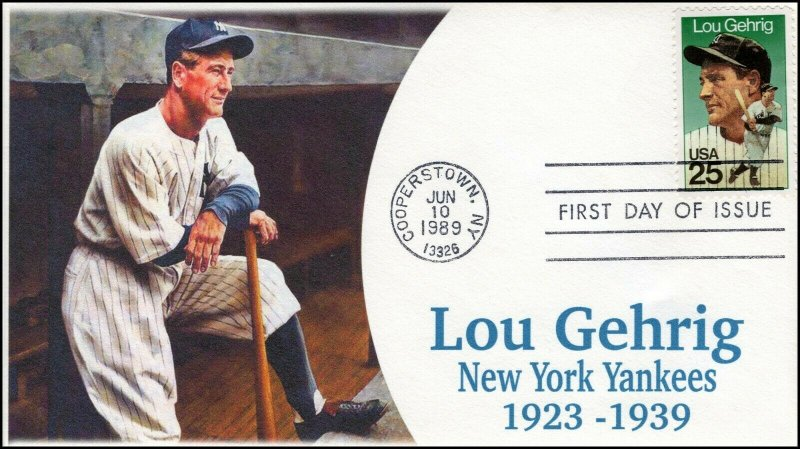 AO-2417-1, 1989, Lou Gehrig, FDC, Add-on Cachet, Cooperstown NY, SC 2417