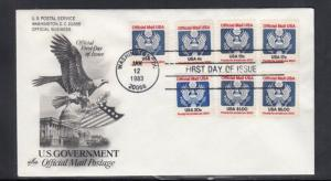 First Day Cover U.S Officials 1983 1 Cent to $5