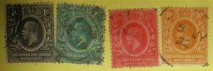 1912 EAST AFRICA & UGANDA USED- SCOTT #40-43 Free US Shipping