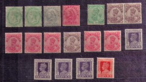 INDIA 1892 - 1926 MNH & MLH LOT OF QV & KGV STAMPS F-VF - ALL VICTORIA'S...